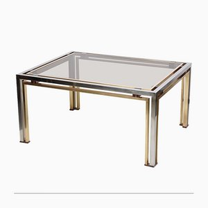 Brass, Chrome & Smoked Glass Coffee Table by Romeo Rega, 1970s