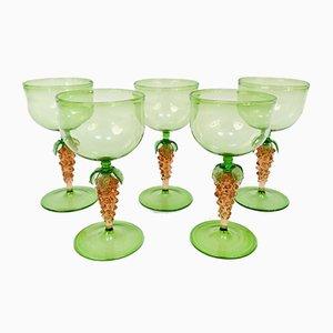 Deutsche Art Deco Wein oder Cocktail Gläser mit Taubenförmigen Stielen von Lauscha Glashütte, 1920er, 5er Set