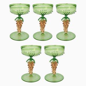 Deutsche Art Deco Cocktail Gläser mit Traubenförmigen Stielen von Lauscha Glashütte, 1920er, 5er Set