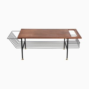 Coffee Table With Rack In Teak, Iron and Enameled Brass, 1960s