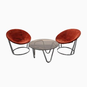 Coffee Table & Chairs Set by E. Lusch for Lusch & Co., 1960s, Set of 3