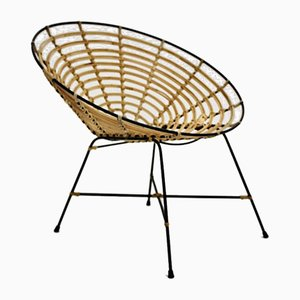 Vintage Italian Bamboo and Rattan Lounge Chair, 1960s