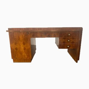 Art Deco Burl & Walnut Desk, 1930s