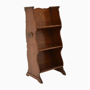 Antique Arts & Crafts Oak Open Bookcase