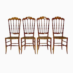 Vintage Beech Chiavari Dining Chairs, 1950s, Set of 4