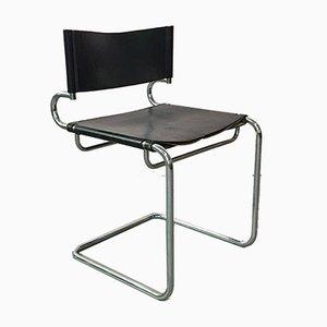Italienische Moderne Mid-Century Esszimmerstühle aus Stahl & Schwarzem Leder von Armet, 1970er