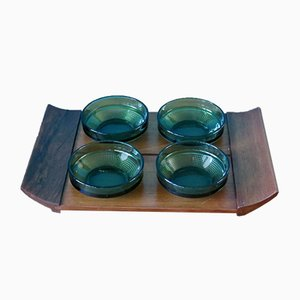 Rosewood & Glass Tableware Set from Illums Bolighus, 1960s, Set of 4