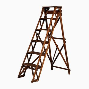 Antique 20th-Century English Oak Step Ladder