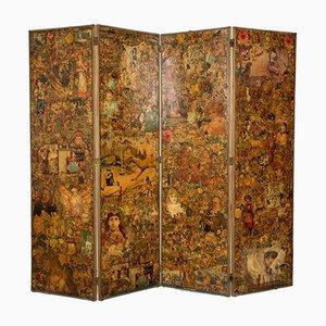 Biombo victoriano plegable de cuatro paneles, década de 1890