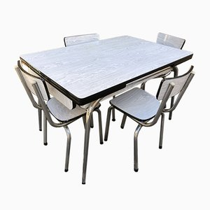 Mid-Century Formica Dining Table & Chairs Set, 1950s, Set of 5