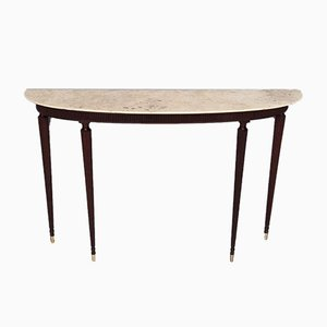 Mahogany Console with Demilune Onyx Top by Paolo Buffa, 1950s