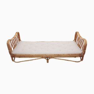 Mid-Century Daybed in Bamboo with New Boucle Mattress, 1950s