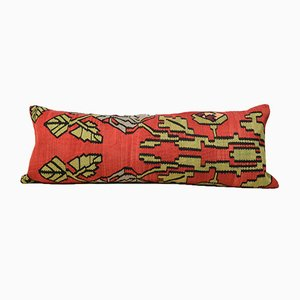 Extra Long Lumbar Red Floral Kilim Pillow Cover by Zencef Contemporary