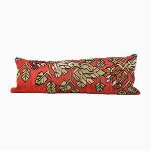 Cojín Kilim floral extralargo alargado en rojo de Zencef Contemporary