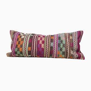 Fodera per cuscino Kilim viola in lana ricamata a righe di Zencef Contemporary