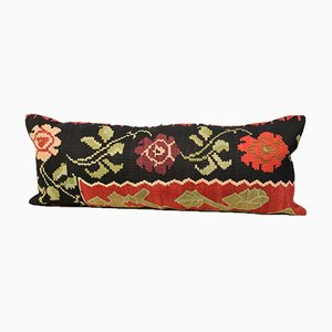 Extra Long Lumbar Black and Red Floral Kilim Pillow Cover by Zencef Contemporary