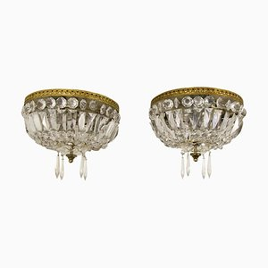 Vintage French Crystal and Brass Three-Light Ceiling Fixtures, Set of 2