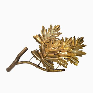 Large Brass Leaf Sconce from Maison Jansen, 1970s