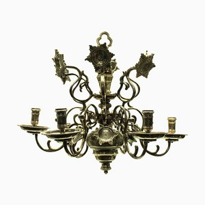 Antique Flemish Bronze and Silver-Plated Chandelier