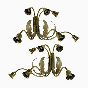 Italian Brass Sconces, 1950s, Set of 2