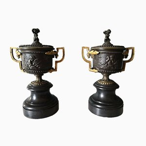 Napoleon III Period Bronze Covered Pots, Set of 2
