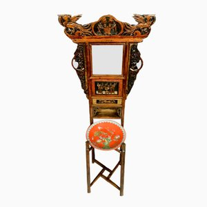 19th Century Chinese Lacquered Wood Side Table with Mirror