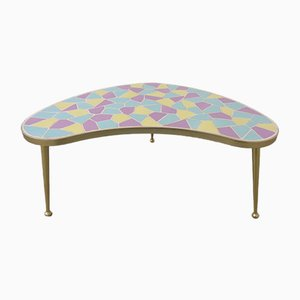 German Ceramic Metal & Mosaic Kidney Side Table, 1950s
