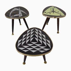 German Ceramic Mosaic Kidney Side Tables, 1950s, Set of 3