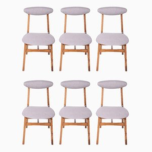 Beech and Fabric Model 200-190 Dining Chairs by Rajmund Teofil Hałas, 1960s, Set of 6