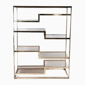 Vintage Geometric Gold-Plated Shelving Unit by Romeo Rega for Belgo Chrom / Dewulf Selection
