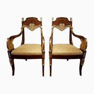 Empire Period Mahogany and Gilded Wood Lounge Chairs, Set of 2