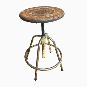 Industrial Yellow Swivel Stool or Plant Table, 1950s
