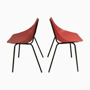 Mid-Century Vintage Red Shell Dining Chairs by Pierre Guariche for Murop, Set of 2