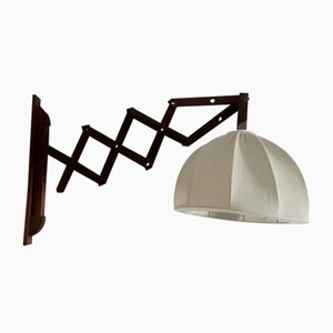 Extendable Sconce with Teak Frame & Beige Wool Shade, 1970s