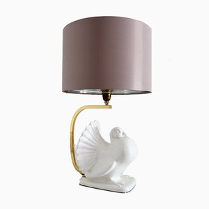 Ceramic Table Lamp with Brass Shape, 1970s