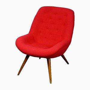 Roter österreichischer Mid-Century Bucket Beistellstuhl