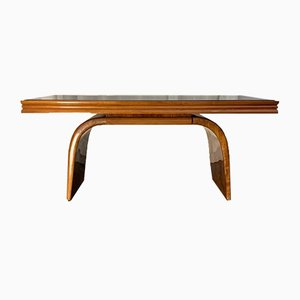 Art Deco Maple, Burr, and Walnut Dining Table, 1930s