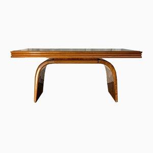 Mesa de comedor Art Déco de arce, madera nudosa y nogal, años 30