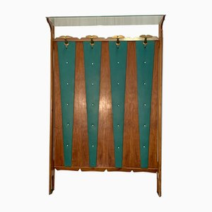Cherry & Green Leatherette Coat Rack, 1950s