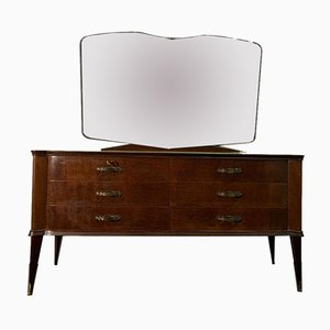 Chest of Drawers With Mirror In Mahogany, 1950s, Set of 2