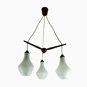 Dänischer Mid-Century Teak & Opalglas Kronleuchter mit 3 Armen