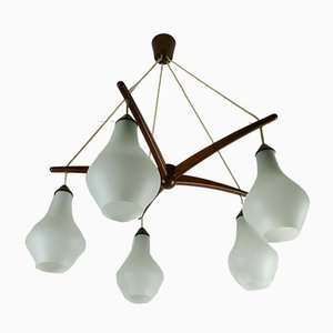Mid-Century Danish Teak & Opaline Glass 5-Arm Chandelier