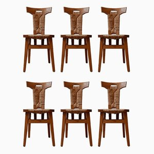 Mid-Century Dutch Arts & Crafts Dining Chairs, Set of 6