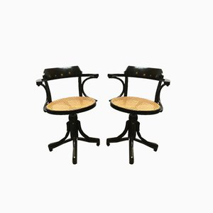 European Wood and Vienna Straw Swivel Chairs in the style of Thonet, 1900s, Set of 2