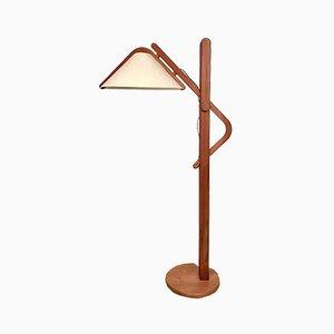 Lámpara de pie danesa regulable de teca de Domus, años 70