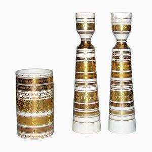 Mid-Century Modern Kerzenhalter aus Porzellan von Bjørn Wiinblad für Rosenthal, 1980er, 3er Set