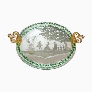 Plateau Miroir en Verre Murano Gravé avec Poignées en Bronze