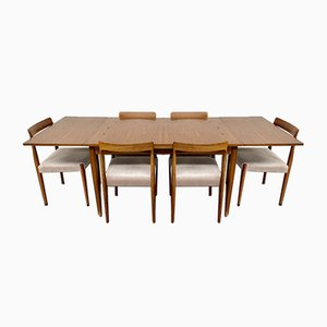 Mid Century West-German Rosewood Extendable Dining Table with 6 Dining Chairs by Lübke, 1960s, Set of 7