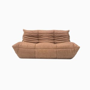 Vintage French Togo 2-Seater Sofa in Cognac Leather by Michel Ducaroy for Ligne Roset