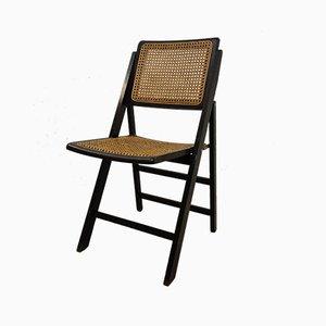 Vintage Black Wicker Folding Chair, 1970s